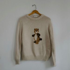 Vintage Teddy Bear Pom Tail Sweater